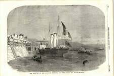 1855 King Of Sardinia Arriving In The Vivid Paddle Steamer At Dover