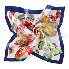 "20"" Small Square 100% Silk Scarf Women neckerchief Shawl Wrap blue red S151-003"