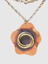 MODERNIST COPPER FLOWER PENDANT BRASS ACCENT SIGNED GENUINE & CHAIN NECKLACE 70S