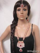 STATEMENT BOLLYWOOD INDIAN WEDDING LONG NECKLACE EARRING TIKKA SET RED GOLD