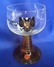 VTG German Baron Keller Amber Ribbed Stem Wine Glass Double 2 Headed Eagle