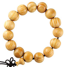 14mm Tibet Buddhist Chinese Oriental Light Brown Wood Prayer Bead Mala Bracelet