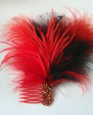 New Black / Red Feather Fascinator with beads