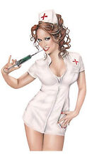 REDHEAD NAUGHTY SEXY NURSE SHORT SKIRT BDSM Syringe PIN-UP GIRL STICKER/ DECAL