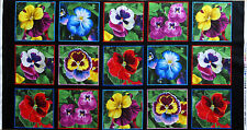"23"" x 44"" 100% COTTON FABRIC QUILT BLOCK PANEL BLACK LOVELY PANSIES PANSY FLOWER"