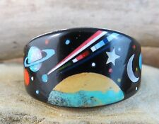 Starry Night Sky Space Navajo Inlayed Gemstone Sterling Silver Ring Size 10 #825