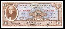 El Banco de Mexico 100 Pesos Serie GG 19.JUN.1957, P-55f. XF