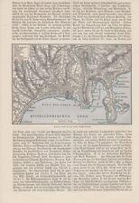Karte von Nizza Nice und Umgebung von 1897 Villefranche St. Jean Cap Ferrat