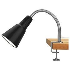 IKEA KVART Black Wall & Clamp Spotlight Lamp with Adjustable Gooseneck (E14)