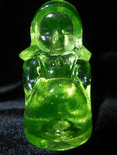 Green Vaseline glass Sarah Amish Doll uranium girl dress farmer / canary yellow
