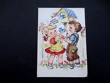 #L143- Vintage Birthday Greeting Card Adorable Kids Feeding Blue Birds