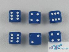 CHESSEX opaque 12mm SET OF 6 D6 BLUE-WHITE DICE MTG WoW