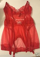 VS VICTORIAS SECRET Lingerie BABY DOLL RED LACE HOT SEXY TOP 34D NEW WITH TAG