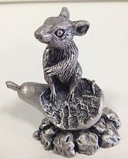 Pewter Mouse Figurine / Mouse / Mouse Standing on Pear/ Pear