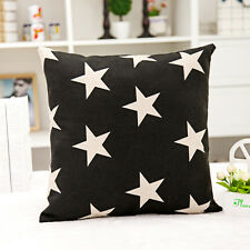 Home Decorate Work Cotton Linen Black White Star Cushion Cover Pillow Sofa 45cm