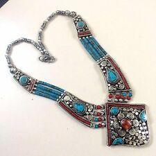 NEPALI JEWELRY .925 TIBETAN SILVER PLATED TURQUOISE-CORAL ETHNIC NECKLACE CH1533