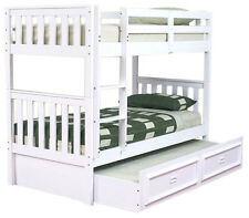 JESTER SINGLE TIMBER BUNK BED & DELUXE TRUNDLE IN WHITE
