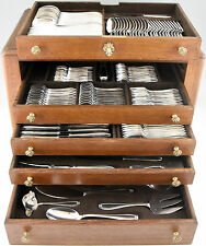 French Art Deco 178 pc silverware set in original case by Frionnet, 1930