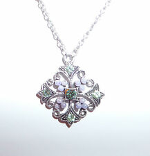 SMALL MALTESE CROSS SILVER PLATED PENDANT NECKLACE GREEN STONES LILAC PEARLS 16""