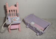 Fisher Price Loving Family Dollhouse Baby Pink & Purple High Chair & Cradle