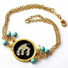 Intricate White Pearl +Turquoise Beads Black Onyx/CZ gold Medal  Bracelet D1573
