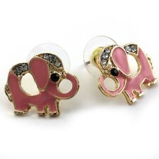 Light Peach Pink Baby Elephant Animal Stud Post Earrings Gold Tone Enamel Charm