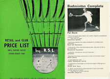 RSL BADMINTON SHUTTLECOCK PRICE LIST AUGUST 1968 & PAT DAVIS BOOK LEAFLET