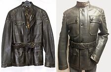 $1,895 Burberry Brit S Men Calf Leather Brown Stonegate Belted Field Jacket Coat