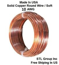 10 AWG Solid Bare Cooper Round  Wire Half Hard ( 25 Ft Coil )