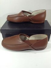 L B EVANS Mens Chicopee Tan Leather Loafers House Slippers Shoes Size 9.5 ZC-219