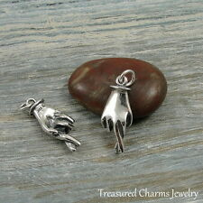 .925 Sterling Silver Fingers Crossed Charm Good Luck Lucky Pendant NEW