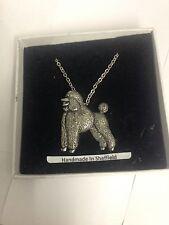 """Poodle PP-D18 Dog Emblem on Silver Platinum Plated Necklace 18"""""""