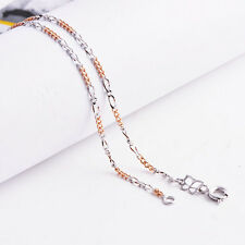 """17"""" Womens 2-Tone Figaro Link Chain Necklace Gold Filled butterfly clasp"""