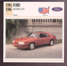 1984 1985 1986 Ford Mustang SVO Red Muscle Car Photo Spec Sheet Info Stat CARD