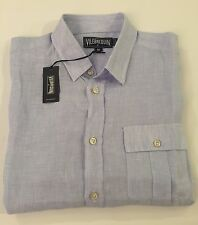 New w Tags AUTHENTIC Vilebrequin  Short Sleeve Blue & White Linen Shirt Men 2XL