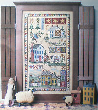 "Linda Myers ""Homespun Hollow"" Counted Cross Stitch Kit Quilts Houses Cat Cow"