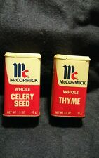 Lot of 2 Vintage Spice Tins-  McCormick celery seed thyme