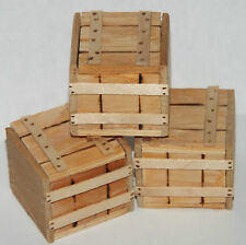 Doll miniature handcrafted Crates wood set of three medical morgue storage 1/12