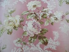 "French Victorian Roses & Scroll Home Dec Fabric On Pink Ground c1870-80~2yLX31""W"