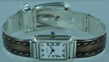 VINTAGE GUCCI STERLING BROWN W/ WHITE STITCHING ENAMEL WATCH BRACELET - AWESOME