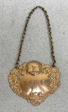 1954 BIRMINGHAM STERLING SILVER CHERUB SCOTCH LIQUOR BOTTLE GOLD GILT LABEL