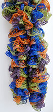 Handmade Knitted Frilly Lacy Boa Scarf; Color: Disco
