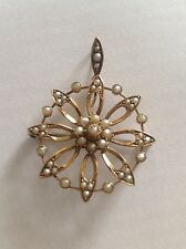 Fine Victorian 9ct Gold Circular Natural Seed Pearl Set Pendant / Brooch