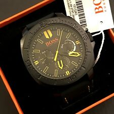 Hugo Boss Orange Sao Paulo Black Silicone Strap Chronograph Watch 1513243 NWT