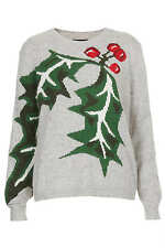 Topshop Grey Soft Angora Mix Christmas Holly Leaf Jumper - Size 8