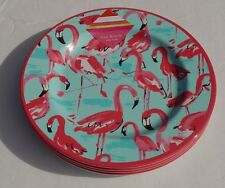New Isaac Mizrahi Set of 4 Pink Flamingo Melamine Dinner Plates