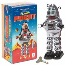 Tin Mechanical Planet Robot - Chrome - Fun Clockwork Traditional Collectible Toy