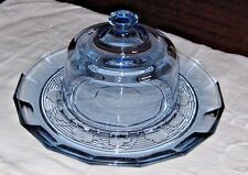 """Vintage Sapphire BLue Depression Pansy Covered Cheese Dome with 12"""" Tray"""