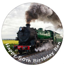 Steam Train Personalised Cake Topper Edible Wafer Paper 7.5""