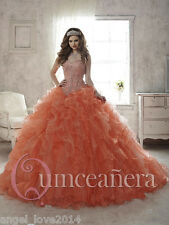 Perfect Orange Ball Gown Quinceanera Prom Dress Ruffles Pageant Formal Dresses